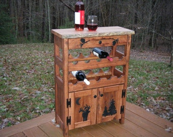 Red Oak Wine Rack Cabinet with Drawer - Rustic Wine Rack with Elk and Pine Silhouettes