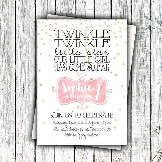 Girl's Printable Invitation, Twinkle Twinkle Little Star, Pink and Gold, Birthday Invitation, First Birthday #31