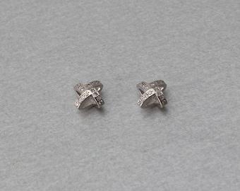 Pinwheel Brass Pendant . Polished Original Rhodium Plated . 10 Pieces / C3119S-010