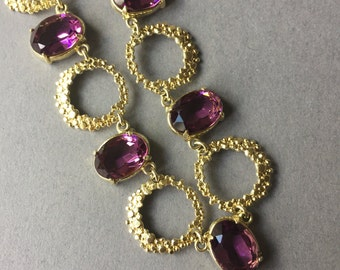 Vintage 14 ct Rolled Gold Amethyst Glass Stone Necklace