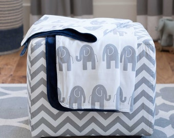 Baby Boy Crib Bedding: Navy and Gray Elephants Crib Blanket by Carousel Designs