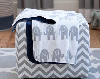Baby Boy Crib Bedding: Navy and Gray Elephants Crib Blanket by Carousel Designs