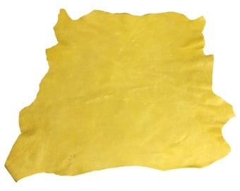Lambskin Authentic Genuine Leather Hide Rustic Skin Tanned Yellow Sheepskin Hides FS896-6