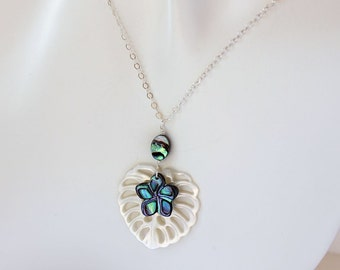 Abalone Plumeria Leaf Necklace, Abalone Frangipani Leaf Necklace, Hawaiian Beach Wedding Necklace, Tropical Shell Necklace