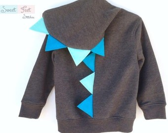 4T Gray Dinosaur Hoodie with Blue Spikes