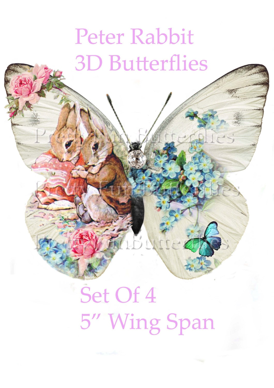 Nursery wall decor peter rabbit 3d butterflies 5 wing - Peter rabbit nursery border ...