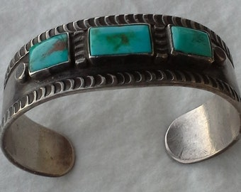 Old pawn native american cuff bracelet sterling silver and bisbee turquoises