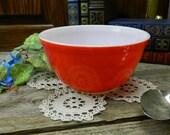 Vintage Mid Century Cherry Red Medium Pyrex Mixing Bowl