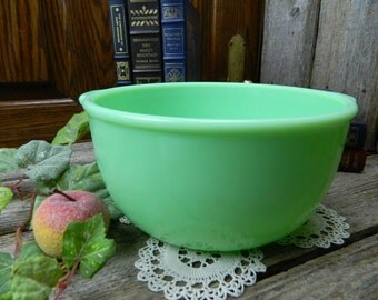 "Vintage Fire King Jadite Jadeite Anchor Hocking 2 Handle 9"" Mixing Mixer Bowl"