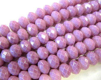 Pastel Rondelle Beads, 6x8 MM, 26 Beads, Lavender, Glass, Pastel, Value Stands, Jewelry Making Beads