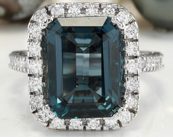 8.58CTW Natural London Blue Topaz and Diamonds in 14K White Gold Ring