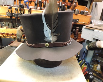 Retro leather top hat from my original 1970s pattern