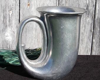 Vintage Duratale By Leonard Italy Pewter Hunting Horn Mug, Pewter Beer Stein, Pewter Beer Plough