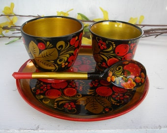Vintage Cream and Sugar Set Handmade Russian Khokhloma Spoon Plate Cups Russian Folk Art Lacquer Wood Set