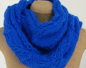 Royal Blue Knit Scarf, 100% Baby Alpaca