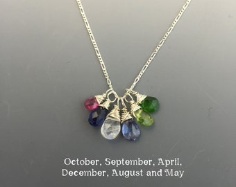 Sterling Silver Birthstone Mother's Necklace