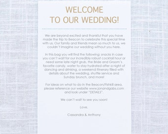 wedding weekend welcome letter itinerary welcome gift bags wedding ...