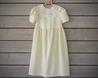 Vintage Lemon Meringue Lace Collared Dress (Girls Size 7)