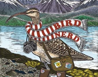 "Bird Nerd ""Bristle-thighed Curlew"" — Canvas Print of Original Clay Board Engraving (Bird Nature Wildlife Art)"