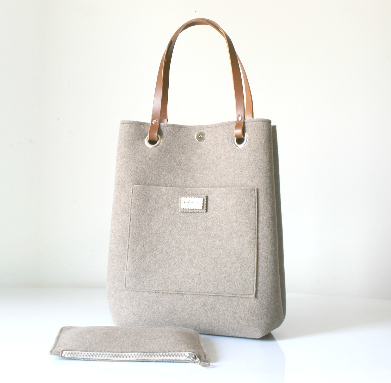 leather tote felt tote bag leather bag large tote everyday. Black Bedroom Furniture Sets. Home Design Ideas