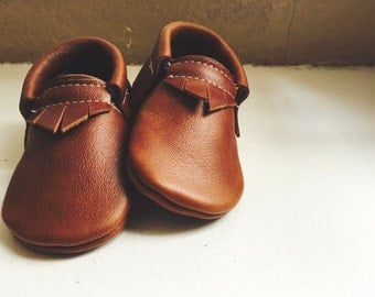Whiskey Brown Moccasins