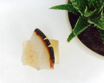 White to Brown Agate Slice Cuff Bracelet