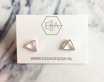 Geometric triangle earring silver, gold or rose colour