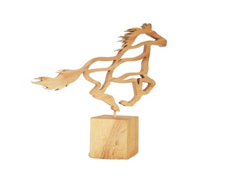 Galloping Horse Sculpture - Oak  Statue - Wooden sculpture - Equine Ornament - Equine Art - Horse Art - Gift for Horse Lover