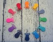 Wide Plastic KAM Pacifier Clips, Suspender, Mitten, Nursing, Bib Clips