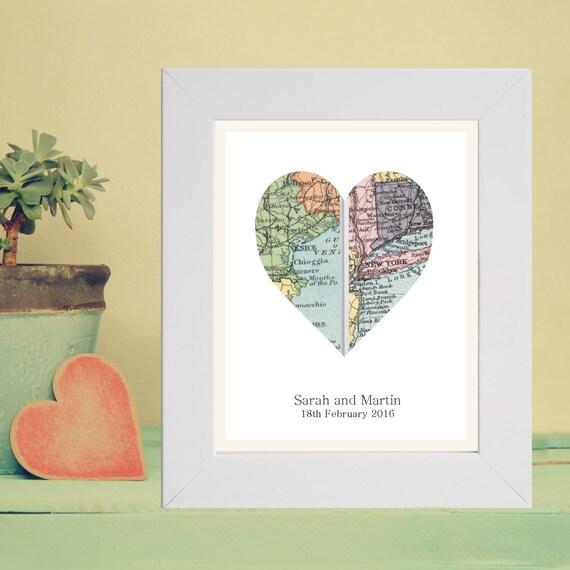 Diy Map Wedding Gift : Vintage Map Framed Heart Print Displaying 2 LocationsUnique Wedding ...