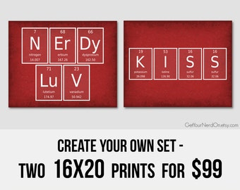Create Your Own Set, Set of 2 Prints, Nerdy 16x20 Posters, Large Wall Art Print