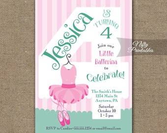 4th Birthday Invitations - Ballerina Tutu Birthday Invitation - Printable Girls 4th Birthday Party - Four Year Old Ballet Birthday - BAL2