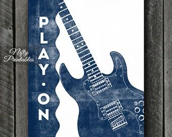 Guitar Print - INSTANT DOWNLOAD Guitar Art - Vintage Guitar Poster - Guitar Wall Art - Guitar Gifts - Blue Guitar Music Decor - Music Print