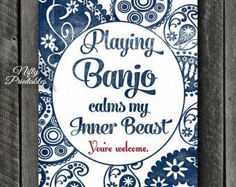 Banjo Art - INSTANT DOWNLOAD Banjo Print - Banjo Poster - Funny Banjo Wall Art - Banjo Gifts - Paisley Banjo Music Decor