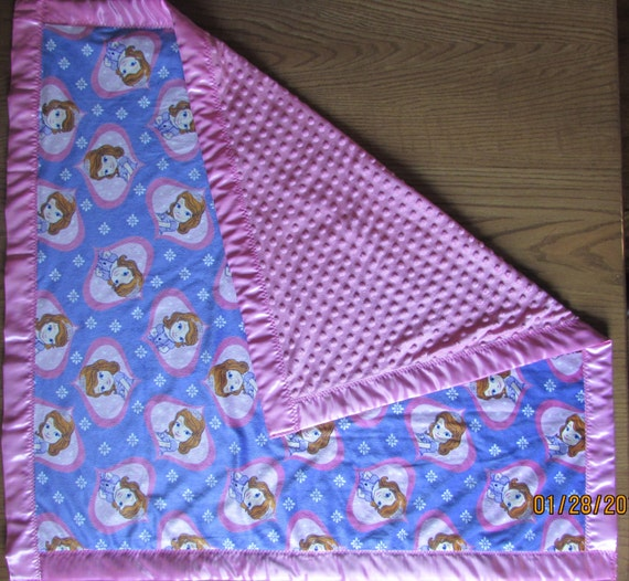 Personalized Sophia blanket/ monogram minkey blanket / satin edge blanket /monogram blanket/monogram baby blanket/monogram toddler blanket