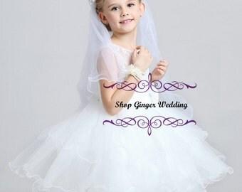 Girls White Flower Headpiece Handmade  Wedding Communion  Bridal Ribbon Bow Veil