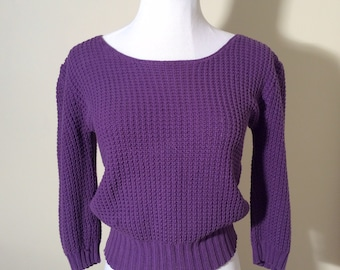 Vintage 1980s Nordstrom POV Purple Knit Crop Sweater with Sweetheart Sleeves
