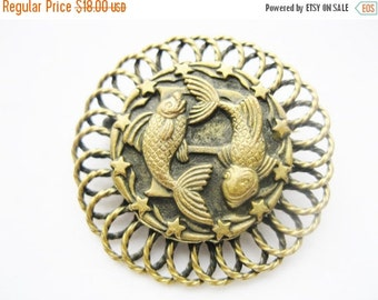Summer Sale Vintage Pisces Fish Zodiac Brooch - Brass Fish Brooch Pin - Astrology Jewelry - February & March Birthday Gifts