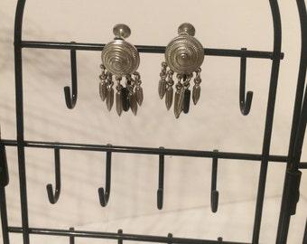 Vintage Metal Clip On Earrings