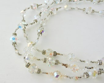 Vintage Signed Vendome Necklace, Aurora Borealis, Carnival Glass Beaded Multi Strand Necklace, AB Crystal Estate Jewelry, Rhinestone