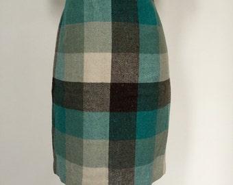 Vintage Magaschoni Wool Plaid Pencil Skirt Size 10