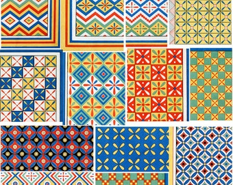 Vintage Patterns 2 Clipart Instant Download 13 images