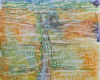Abstract Watercolor Painting Landscape Art. Contemporary Landscapes. 'Terminal By Junction', 30 X 21 cm, Original Expressive Watercolor