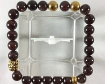 Stackable Burgundy Gemstone and Gold Cross Beaded Easter Resurrection Charm Bracelet