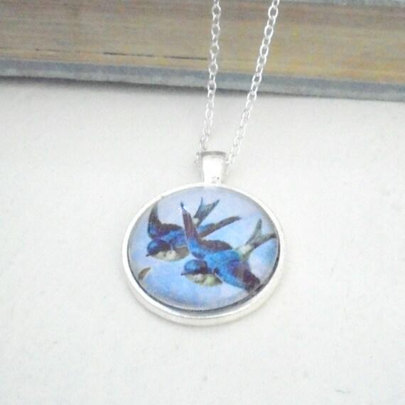 bluebird pendant antique bird picture necklace by bellebabette
