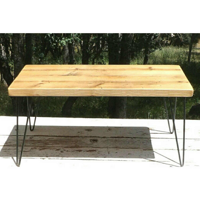 Hairpin leg coffee table wrought iron reclaimed wood plant for Wood coffee table with wrought iron legs