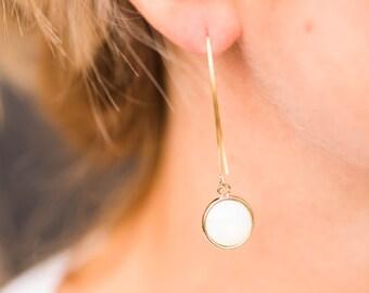 Opal Moonstone Opalite Eclipse Drop Earring // Gold Dangle Earring // Gold Drop Earring // October and Gold Earring