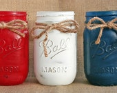 Mason Jars - Set of 3 - Distressed Red, White & Blue - The Patriot Collection