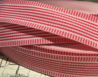 "3 YARDS 7/8"" Preppy WHIMSY STRIPE Hot Pink Grosgrain Ribbon"