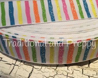 3 yards WONKY GLITTER SUMMER Stripe Multi Color on White Grosgrain Ribbon